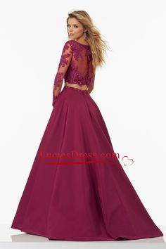 2017 A Line Two-Piece Long Sleeves Prom Dresses Satin With Beads And Applique