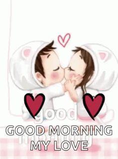 romantic good morning images Wallpaper Pics for wife Good Morning Gif Funny, Good Morning Kiss Images, Good Morning Couple, Good Night Hug, Good Morning Romantic, Good Morning Kisses, Good Morning Cards, Morning Love Quotes, Good Morning Animation