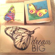 3 Butterflies Wood Mount Rubber Stamps Dream Big #Studio18Michaels