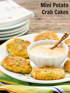 Mini Potato Crab Cakes made with leftover mashed potatoes, lump crabmeat, and served with remoulade sauce. Make them for you next party to kick it off in a tasty way.