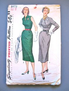 Modello vestito di vintage anni cinquanta semplicità 8473 wiggle. Busto 34 pollici di Fancywork su Etsy https://www.etsy.com/it/listing/170594587/modello-vestito-di-vintage-anni