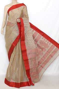 Beige & Red Handwoven Bengal Pure Tant Silk Saree (Without Blouse) 13863