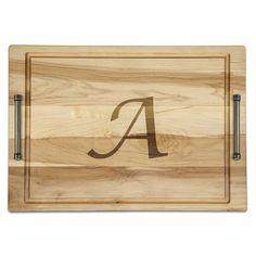 """Martins Homewares Ambrosia Monogrammed Carved Platter Size: 18"""" W x 12"""" D, Letter: M"""