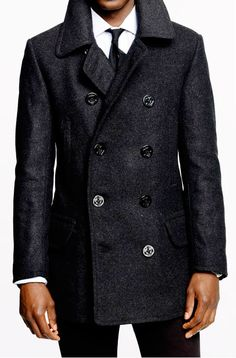 Classic Wool Naval Pea Coat with Leather Trim | All Swagger and ...