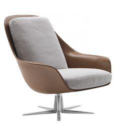 Sveva Flexform Swivel Armchair Sveva designed by Carlo Colombo for Flexform is an armchair with a swivel metal base. Polyurethane structure covered in saddle leather. Seat and back cushions covered in fabric or leather. Available in two versions. Adirondack Chair Cushions, Cheap Adirondack Chairs, Leather Dining Room Chairs, Mid Century Dining Chairs, Lounge Chairs, Rocking Chairs, Patio Chairs, Outdoor Chairs, Swivel Armchair