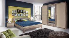 Sypialnia MALVIAGO- połączenie jasnych mebli z trzy kolorowymi ścianami, co Wy na to? Aranżacja pochodzi ze strony http://www.forte.com.pl/pl