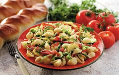 Hot weather in the country meant lighter foods that were still hearty, like this pasta dish.