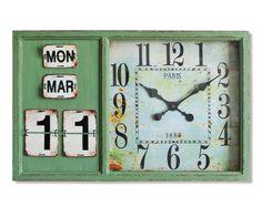Wanduhr Laurio 85x64 cm Grün mit Kalender Antik Optik