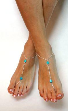 Azul y plata encadenaron sandalias Descalzas por BareSandals