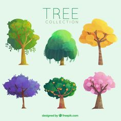 More than a million free vectors PSD photos and free icons. Exclusive freebies and all graphic resources that you need for your projects Art And Illustration, Landscape Illustration, Landscape Art, Tree Graphic, Watercolor Trees, Art Graphique, Photo Tree, Environmental Art, Tree Art