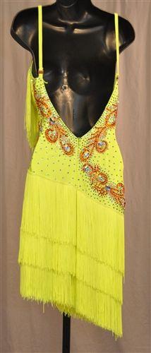 Сексуальный Лимонно Зеленый Бахрома Латинской Платье