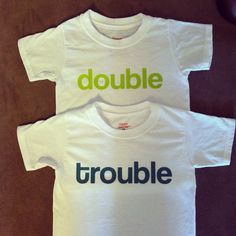 double trouble toddler tee t-shirt shirt set - twins, multiples, two babies, double blessings - brothers, sisters, cousins, best friend tees on Etsy, $22.00