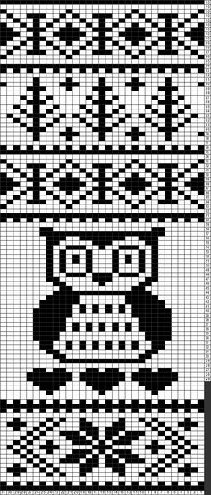 Tricksy Knitter Charts: Fair Isle big owl hearts pattern with snowflakes and trees by Erin