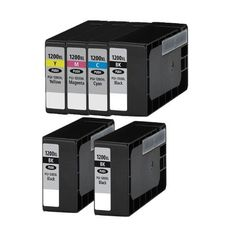 6 Pack New Compatible with Canon PGI1200XLBKx3+CMY Ink Cartridge for Canon Black 1200 Cyan Magenta Yellow 900 page yield, Multi