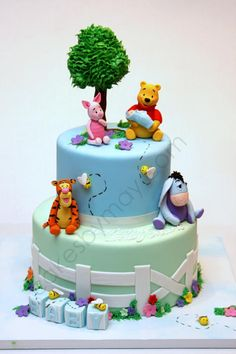 Winnie the Pooh and Friends Baby Shower Cake or birthday cake Winnie Pooh Torte, Winnie The Pooh Birthday, Baby Boy Birthday Cake, 1st Birthday Cakes, Birthday Ideas, Baby Shower Fun, Baby Shower Cakes, Fun Baby, Fancy Cakes