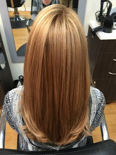 Warm blonde with golden highlights