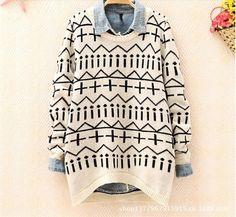 Irregular geometric Jacquard long sleeve sweater knit sweater