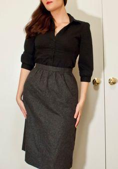 Gray+Wool+Aline+Below+the+Knee+Office+Skirt+by+ourlavenderlady,+$20.00