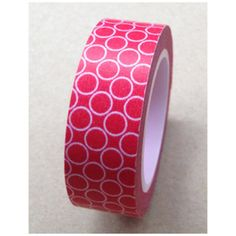 Circle on red Washi Tape Roll Adhesive Stickers WT385 CharmTape