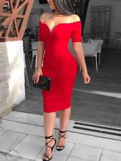 Female Sexy Deep V-neck Off Shoulder Bodycon Dress Women Short Sleeve Solid Sheath Midi Dress Vestidos Verano Tight Dresses, Sexy Dresses, Dress Outfits, Evening Dresses, Short Dresses, Fashion Dresses, Midi Dresses, Bodycon Dress With Sleeves, Lace Dress