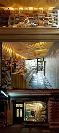 Baker D Chirico. Australian practice March Studio conceived this beautiful Melbourne bakery, wholly fitted out in wood, as an oversized breadbasket.
