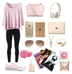 """""""lazy day"""" by joannamaria11 on Polyvore featuring Peace of Cloth, Converse, MICHAEL Michael Kors, Rifle Paper Co, Ray-Ban, The Giving Keys, Eos, Essie and Keeco"""