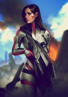 leandrofranci: Ashley Williams, from Mass Effect. Fanart.