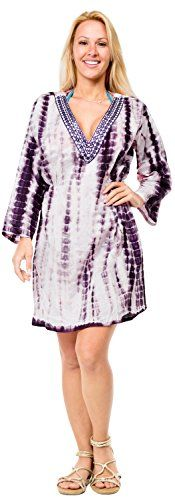 Womens Embroidered Bikini Beachwear Swimwear Swimsuit Cover up Tie Dye Dark Violet One_Size_Fits_Most Spring Summer 2017 *** More info could be found at the image url.  This link participates in Amazon Service LLC Associates Program, a program designed to let participant earn advertising fees by advertising and linking to Amazon.com.