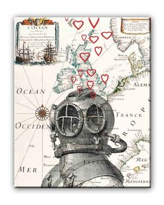 Underwater diver Loving Print, Loving, lovers, hearts, on old Europe map,  Matte Print 8x10. $13.50, via Etsy.