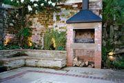 Fireplace in courtyard garden