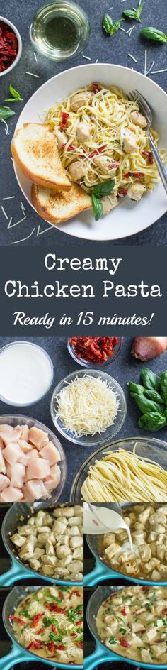 Forget your local Ristorante. The most delicious Creamy Chicken Pasta comes together with sun-dried tomatoes and a rich cream sauce in just 15 minutes!