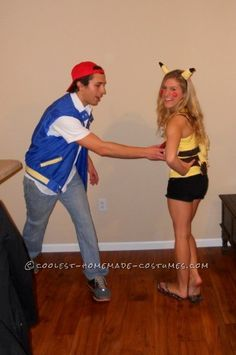 """Awwww if I had/have a boyfriend, I would do this for Halloween! """"Coolest Pikachu and Ash Ketchum Handmade Couple Costume"""" Homemade Costumes, Cool Costumes, Costume Ideas, Holidays Halloween, Halloween Party, Halloween Ideas, Ash Costume, Costume Makeup, Pokemon"""