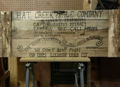 Sign #479 is on its way to Bushnell, FL Hat Creek Sign from the movie Lonesome Dove Sign Made with aged Lumber and Hand Stenciled. Free Shipping Included!! #wedontrentpigs #lonesomedove #woodworking http://oletymekreations.weebly.com/lonesome-dove-sign.html #rustic