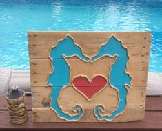 Seahorses with Rope Beach Pallet Art