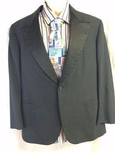 Brooks Brothers Black Sport Coat 42 Blazer 1 Button Satin Trim Fancy Versatile #BrooksBrothers #1Button #satintrim #sportscoat