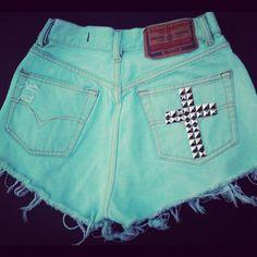 Teal High Waisted Denim Cross Shorts