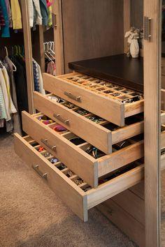 Closet with jewelry storage drawers