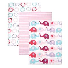 Luvable Friends Flannel Receiving Blanket Pink Elephants