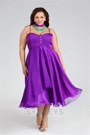 Plus Size Tea-length plus-size chiffon cocktail dress. Perfect for an evening wedding!