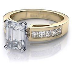 .50ctw Cathedral Channel Set Emerald Cut Diamond Engagement Ring... ($1,239) ❤ liked on Polyvore featuring jewelry, rings, princess cut diamond rings, wedding rings, 18k diamond ring, yellow gold engagement rings and yellow gold wedding rings