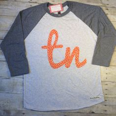 TN raglan Tennessee shirt orange and white by shimmershinedesigntn
