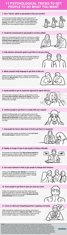 Psychology infographic and charts How to Get People to do What You Want -- Use any of these psychological triggers. Infographic Description How to Get Life Skills, Life Lessons, How To Influence People, Do What You Want, Do Want, Psychology Facts, Body Language Facts Psychology, Perception Psychology, Behavioral Psychology