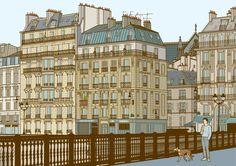 Illustration of a man walking his dog in a Parisian street.