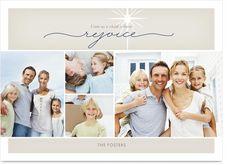 Beige Rejoice Photo Christmas Card