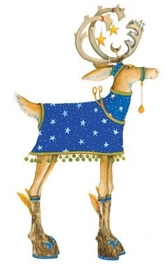 Comet streaks through the sky in his starry night blue coat pulling the sleigh along with his Reindeer friends. Christmas Deer, Merry Little Christmas, Christmas Animals, Christmas Pictures, Winter Christmas, Vintage Christmas, Christmas Crafts, Christmas Decorations, Christmas Blocks
