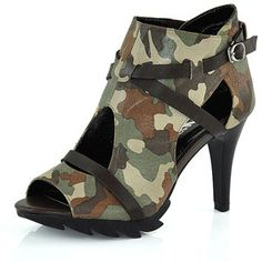 Camouflage Heeled Ankle Boots with Cut Out and Leather Strap Detail