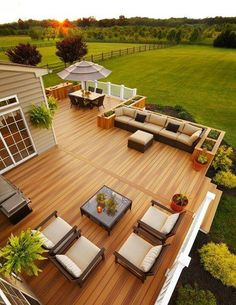 My dream home has a hugh deck/ patio, and backyard.