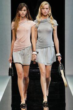 Spring 2013 RTW, Designer: Emporio Armani, Models: Pauline Hoarau and Josefien Rodermans
