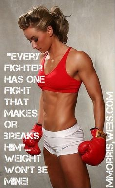 """""""Every fighter has one fight that makes or breaks him""""... weight won't be MINE! My goal= """"To get in the best shape of my life in 2012!"""" Things that motivate me to keep going... I have lost 50 pounds and counting, 10 pounds to my goal!! To INSANITY and back.... http://mmorris.webs.com or  https://www.facebook.com/MMorrisFitness"""