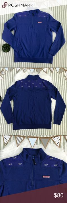 Vineyard Vines Pullover  Embroidered Shep Shirt Vineyard Vines 1/4 Zip pullover. Whale enbroidered shep shirt in the color royal ocean. Nothing wrong with it! Brand new with tags! 100% cotton! Perfect to grab and go on a chilly night! Feel free to ask questions or make an offer! Vineyard Vines Jackets & Coats